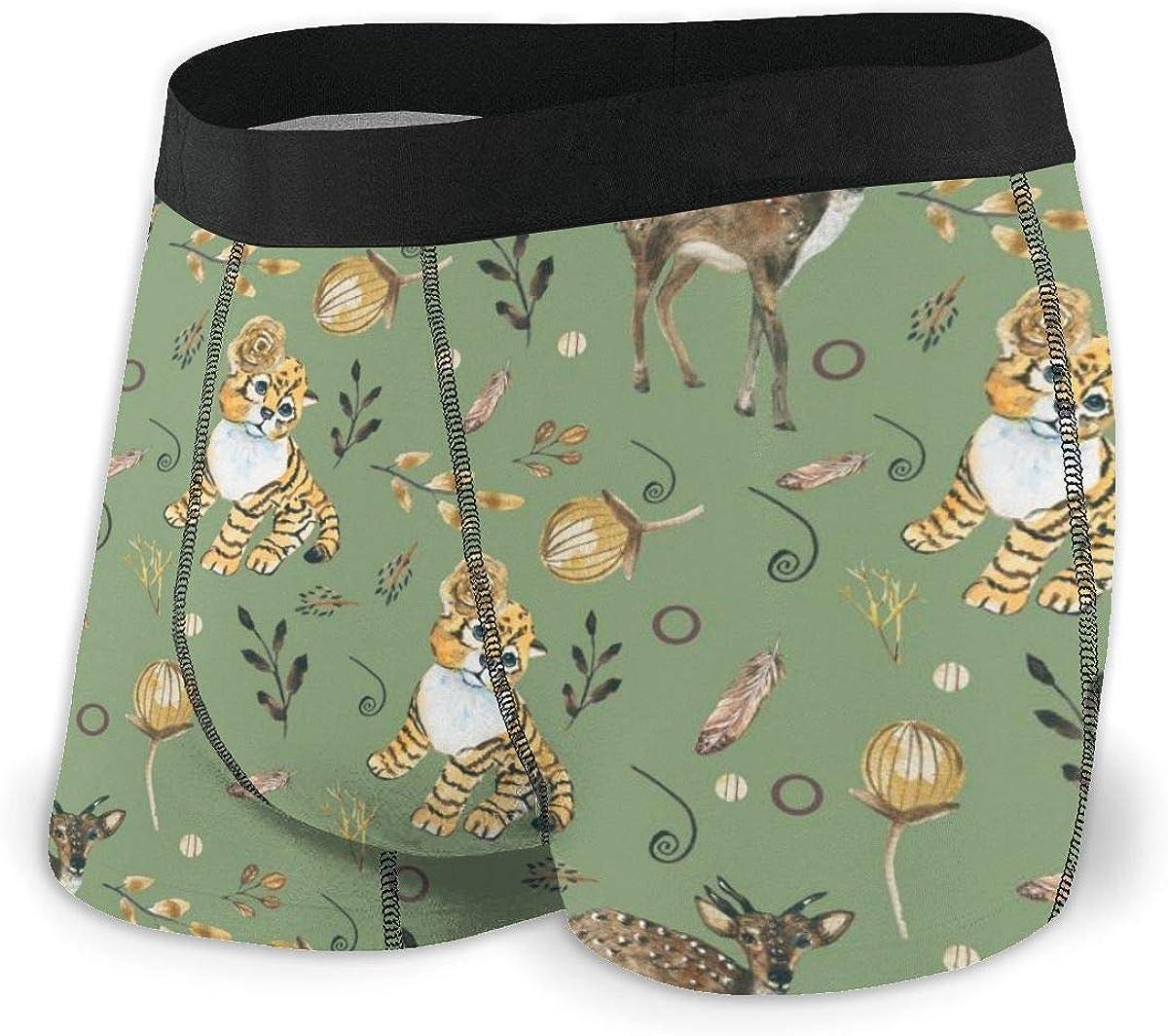 Mens Boxer Briefs Forest Animals Deer, Tiger Green Breathable Underwear