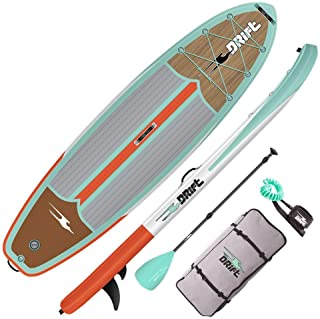 """DRIFT 10'8"""" Inflatable Stand Up Paddle Board, SUP with Accessories   Coiled Leash, Pump, Lightweight Paddle, Fin & Backpac..."""