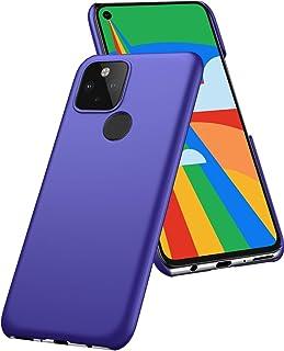 pixel5 ケース A-VIDET PC素材 指紋防止 超薄型 衝撃吸収カメラ保護傷付き防止 Google pixel 5 全面保護カバー(ネイビーブルー)