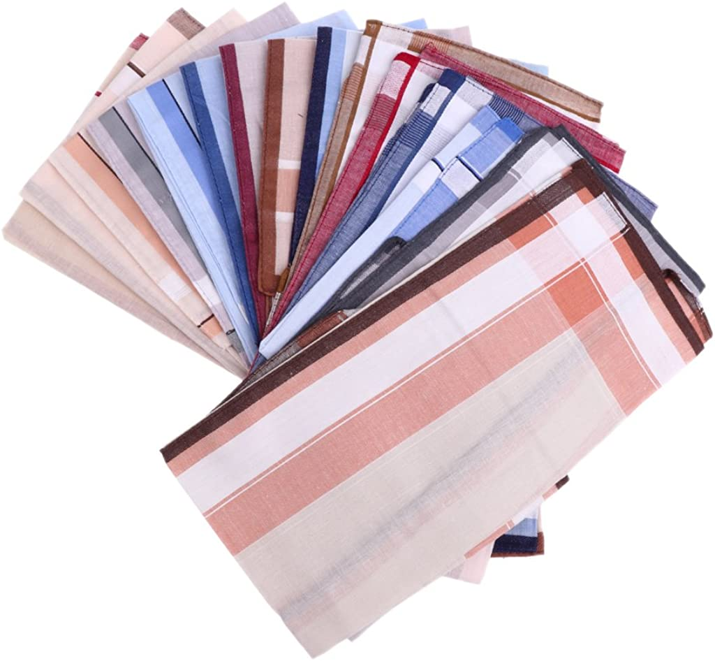 Bonarty 12pc/set Classic Mens Striped HANDKERCHIEFS 100% Cotton Square Hanky