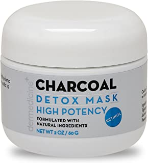 Natural Charcoal Detox Mask for Face w/Retinol | Purifying w/Botanical Plant Extracts | Clearer, Smoother, Brighter & More Youthful-Looking Complexion | Oil Control Rinse Off Mask | 4 oz / 120 g