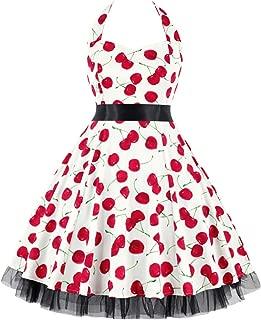 Elegant Women's Dresses Vintage Polka Dot Halter Dress 1950s Floral Sping Retro Rockabilly Cocktail Swing Tea Dresses