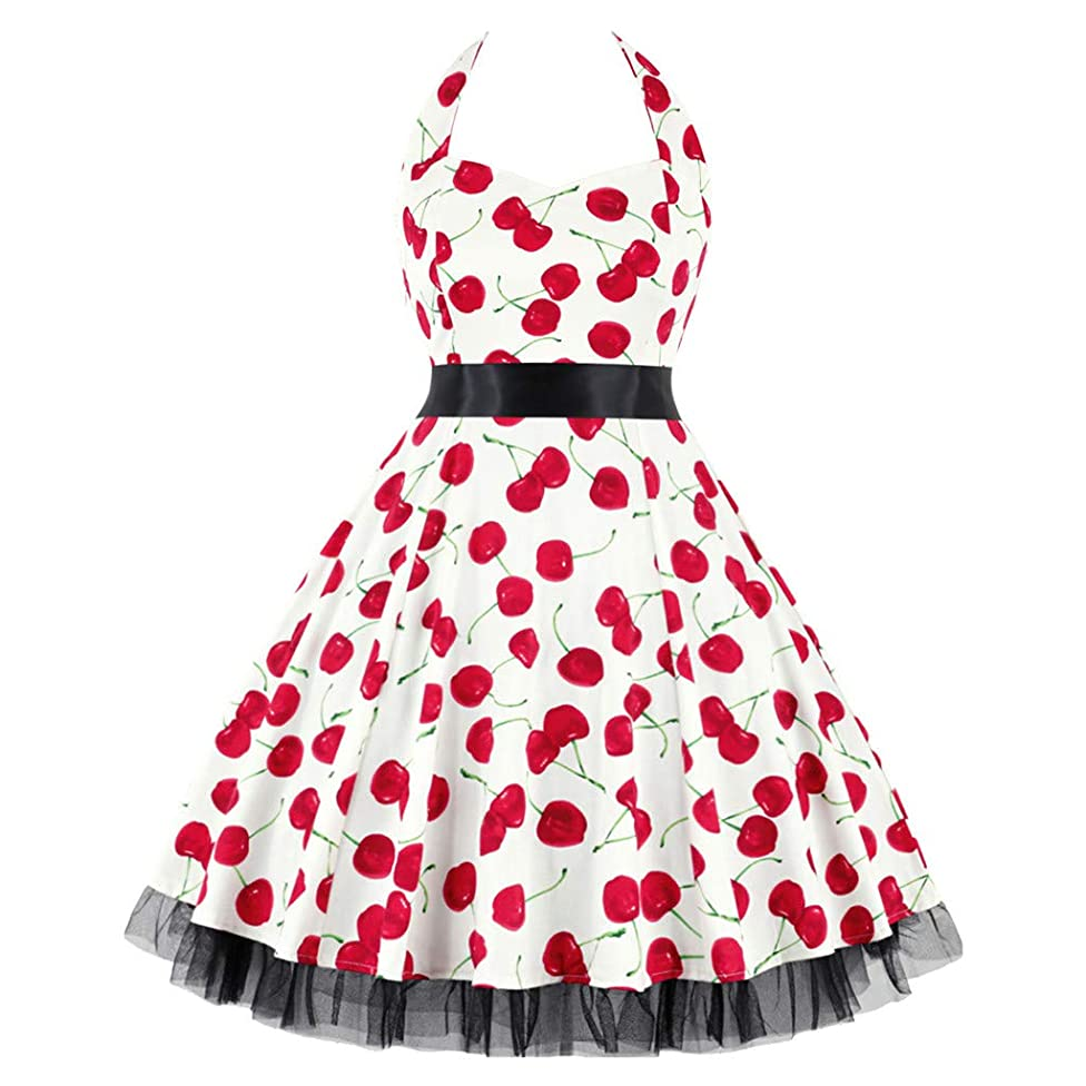 Elegant Women's Dresses Vintage Polka Dot Halter Dress 1950s Floral Sping Retro Rockabilly Cocktail Swing Tea Dresses