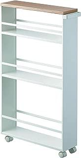 YAMAZAKI home Tower Rolling Slim Storage Cart With Handle White