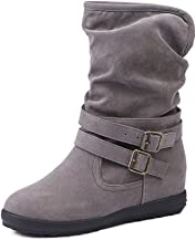 Tomsweet Women's Winter Hiking Walking Boots Cozy Warm Plush Lined Ankle Boots Ladies Non-Slip Buckle Outdoor Slouch Flat Shoes