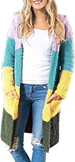 Kstare Women's Open Front Long Sleeve Patchwork Knit Chunky Cardigan Sweater with Pockets Outwear Lightweight Sweaters