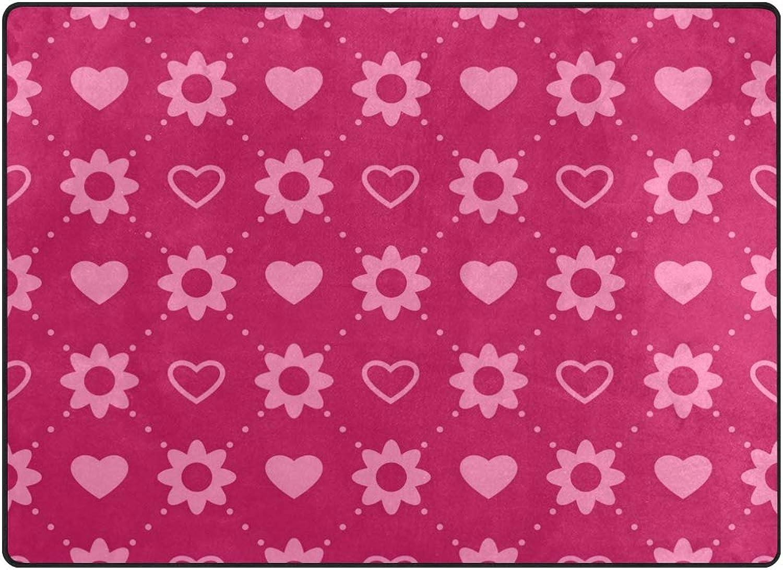 FAJRO Pink Flower Heart Polyester Entry Way Doormat Area Rug Multipattern Door Mat Floor Mats shoes Scraper Home Dec Anti-Slip Indoor Outdoor