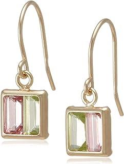 [ Chiaro di diamante] K10黄金粉红碧玺 & 橄榄石方块耳环 chs610