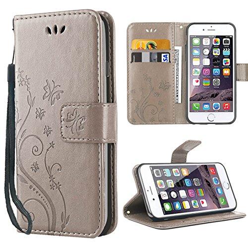 iPhone 6S Hülle,Solide Butterfly PU Ledercase Tasche Hülle Schutzhülle Flip Case Magnetverschluss Handyhülle im Wallet Bookstyle Standfunktion für Apple iPhone 6 6S - Grau