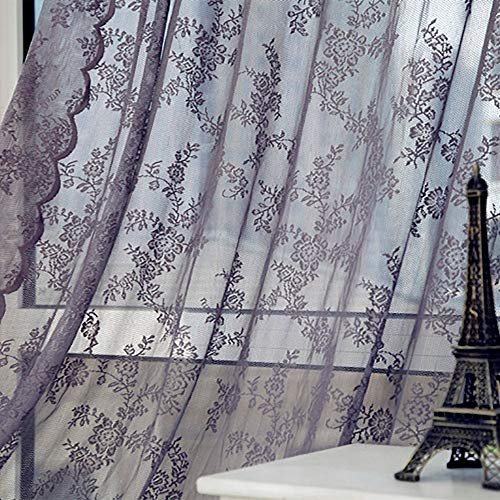 Nvfshreu Hukz dubbele kant gordijn Floral scharnier gordijn raam behandeling Voile Drape eenvoudige stijl Valance 1 Panel stof (L X W 180Cm X 145Cm) (grijs)