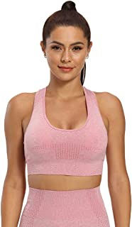 Women's Sports Bras Medium Support Seamless Workout Bra with Removable Padded Wirefree Yoga Bra Top