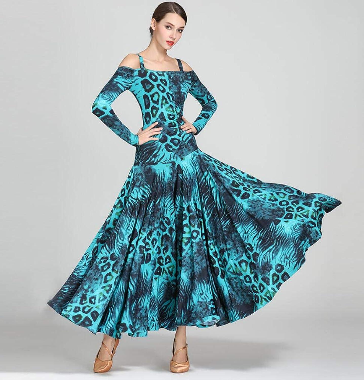 Z&Y Modern Ballroom Dance Costume Women's Pattern Professional Set Nylon Ice Silk Print Green Leopard