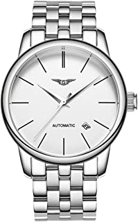 Guanqin Men Analog Business Automatic Self-Winding Mechanical Steel/Leather Wrist Watch Date (7 Silver White)