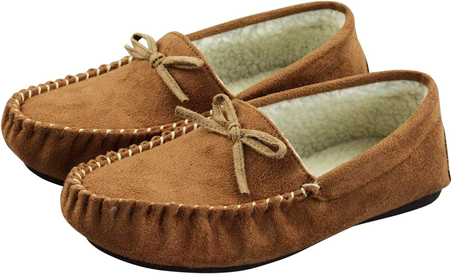 VLLY Women's Faux Fur Lining Soft Comfort Anti-Slip Rubber Sole Indoor Outdoor Slippers