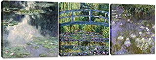 Innopics Canvas Wall Art 3 Piece Bridge Water Lily Pond Giclee Print Artwork Claude Monet Impressionist Painting Reproduction Green Garden Classic Decoration Framed for Home Office Living Room Decor