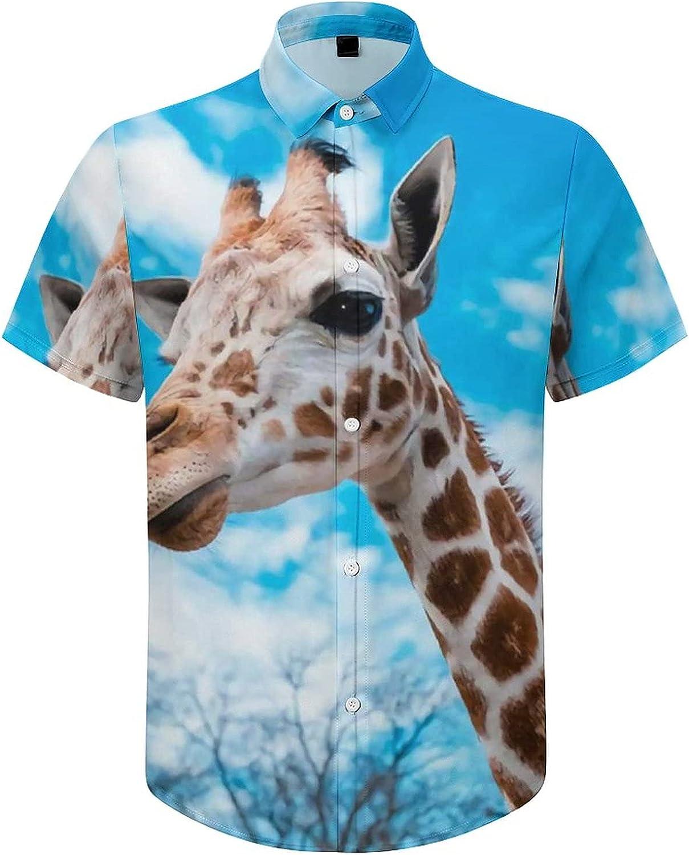 Men's Regular-Fit Short-Sleeve Printed Party Holiday Shirt Giraffes Africa Animals