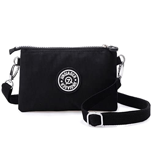 cd36df5106edb Dual Layers Zipper Purse Waterproof Nylon Wristlet Bag Clutch Handbag Cell  Phone Pouch With Shoulder Strap