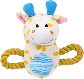 Pet Plush Toys Dog Chew Toys Puppy Cats Cute Biting Sound Squeaky Toys Cartoon Fawn Design (Yellow)