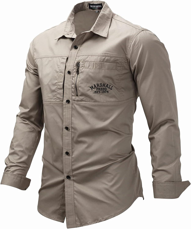 Zainafacai Men's Long Sleeve Dress Shirt Solid Slim Fit Casual Business Formal Button Up Shirts Summer Pocket Beach Shirts