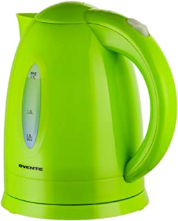 Ovente Electric Hot Water Kettle 1.7 Liter with LED Light, 1100 Watt BPA-Free Portable..