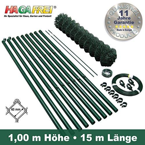 Komplett-Zaunset Maschendraht grün 1m x 15m Maschung 60/2,8mm