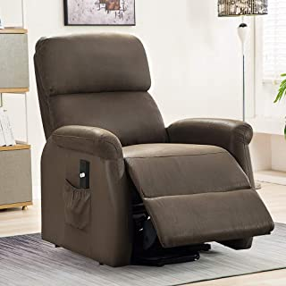 Bonzy Home Power Lift Recliner Chair - Simple Electric Lift Chairs for Elderly Reclining Chair for Living Room Sofa Chair - Thicker Padded Back and Seat Upholstery (Brown)