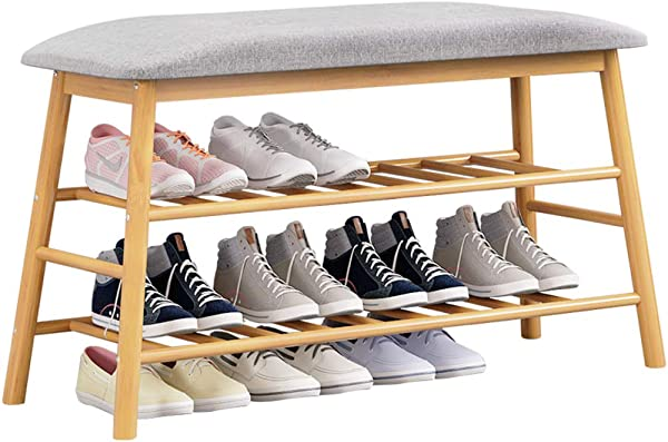 D LE Bamboo Shoe Rack Bench Stool Nordic Multi Function Home Seat Cushion Hallway Shoe Storage Stool Organizer Lift Up Lid B