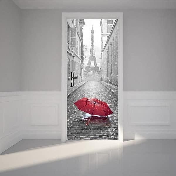 Lanhui Exquisite 3D Door Sticker Cherry Blossoms Or Autumn Forest Or Paris Eiffel Tower Waterproof Decal Wall Home Decor Wallpaper Design C