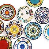 ZGQA-GQA Platos, vajilla de cerámica, placas de solomillo, pintado a mano hecho a mano Placa de...
