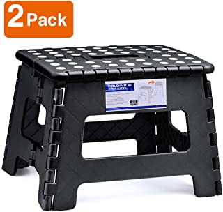 ACSTEP Acko Folding Step Stool Lightweight Plastic Step Stool (2 Pack 9 inch) Foldable Step Stool for Kids,Non Slip Folding Stools for Kitchen Bathroom Bedroom Black