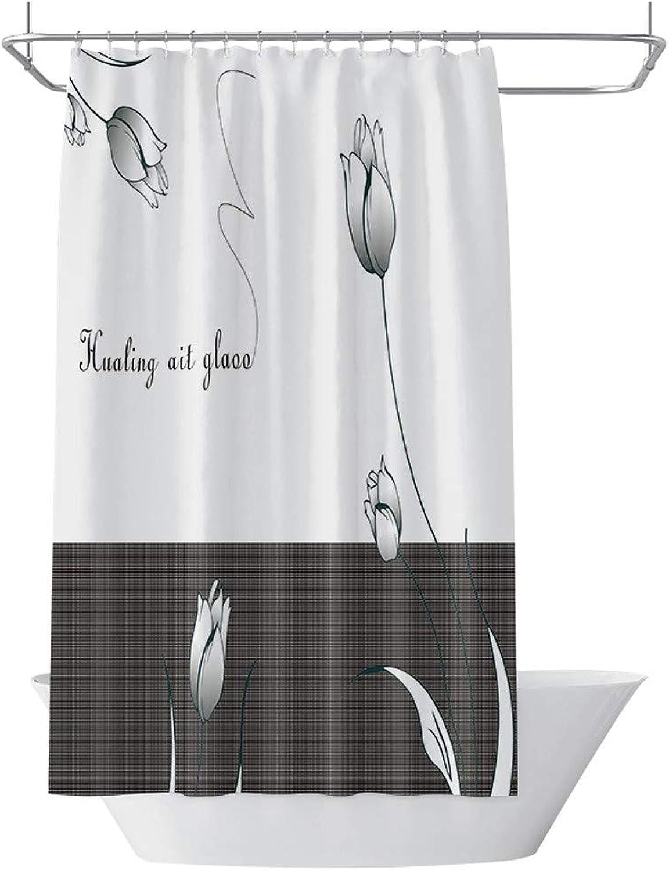 Mvicky Cortinas de Ducha Tela de Poliéster a Prueba de Moho Resistente al Moho Tejido de Poliéster Grueso Cortina de Bao (con Ganchos),120  200cm