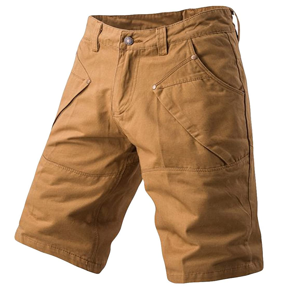 Kiasebu Mens Cargo Shorts Casual Pocket Beach Work Casual Short Trouser Shorts Pants with Pockets