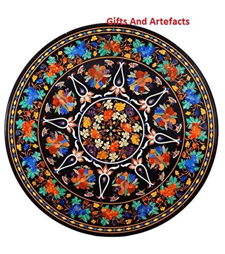 Gifts And Artefacts - Sofá de mesa redonda de mármol negro, con incrustaciones de piedras semipreciosas, diseño único hecho por artesanos expertos, 42 pulgadas