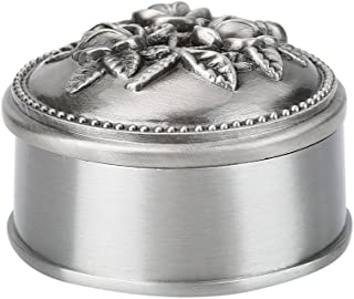 Wal front 1 Pcs Vintage Flower Carved Round Shaped Zinc Alloy Jewelry Box Organizer Classic Ornaments for Necklace Ring Storage - Silver