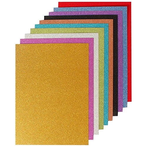 GOLD LEAF A4 Size Glitter Paper for Art and Craft, 250 gsm Paperboard, 10 Assorted Colors