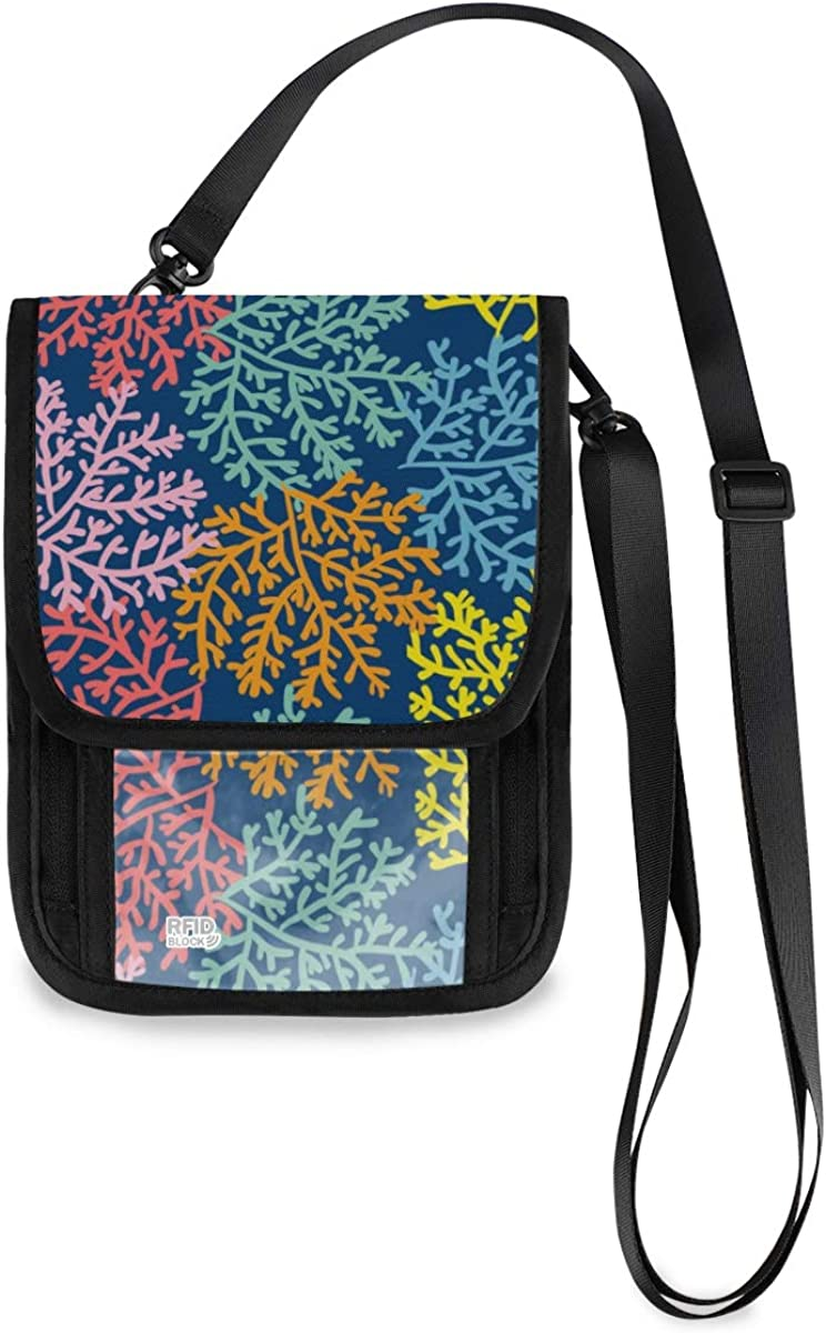 RFID Popular standard Blocking Travel Neck Wallet Coral Holde - Passport Colorful Be super welcome