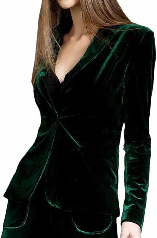 Generic Womens Lapel One Button Velvet Blazer Notched Lapels Blazer