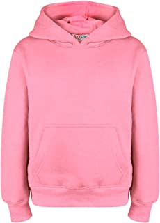Kids Girls Boys Sweatshirt Tops Plain Baby Pink Hooded Jumpers Hoodies 2-13 Yr