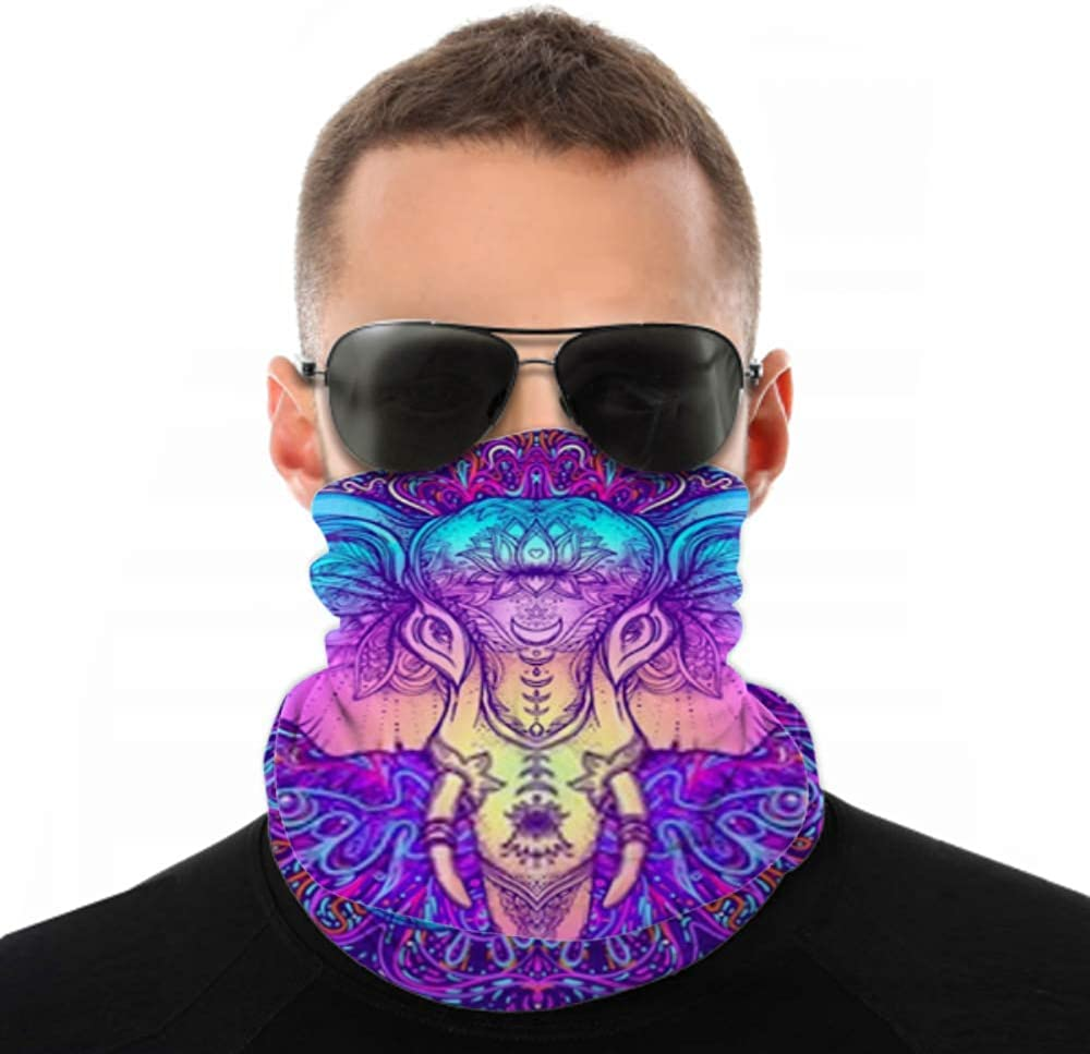 Headbands For Men Women Neck Gaiter, Face Mask, Headband, Scarf Beautiful Handdrawn Tribal Style Elephant Colorful Turban Multi Scarf Double Sided Print Head Wrap For Sport Outdoor