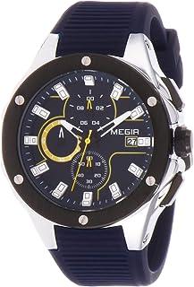 ساعة كوارتز للرجال من ميجر، بعرض كرونوغراف وسوار من السيليكون 2053G