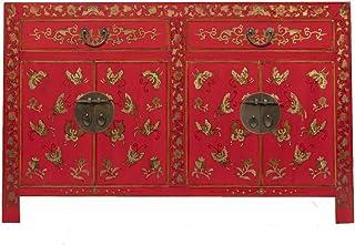 Yajutang - Aparador chino pintado a mano diseño de mariposa color rojo