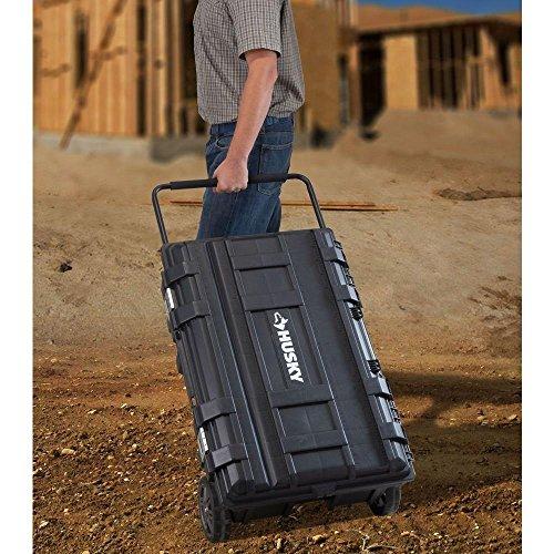 Husky 25 gal. Mobile Utility Work Cart for Tool Storage, Black