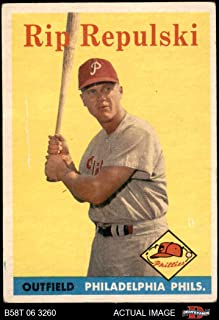 1958 Topps # 14 Rip Repulski Philadelphia Phillies (Baseball Card) Dean's Cards 3 - VG Phillies