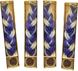 4 Havdalah Sets of Braided Blue and White Candle with Small Container of Besomim