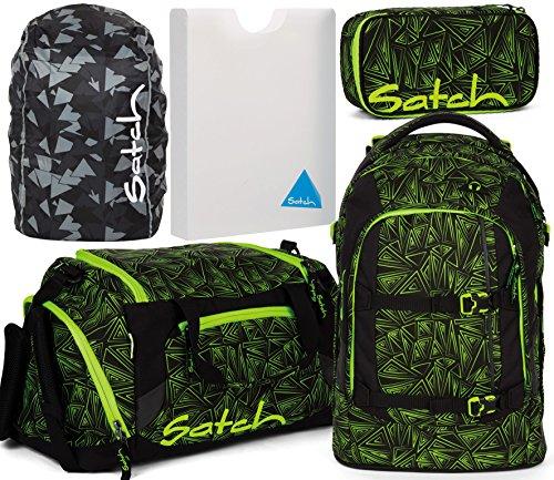 Satch Pack Green Bermuda 5er Set Schulrucksack, Sporttasche, Schlamperbox, Stylerbox & Regencape Schwarz