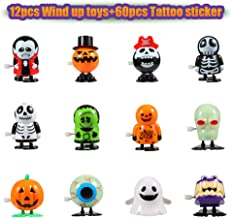 Twister.CK Halloween Wind Up Toys 12 pcs and Temporary Tattoo 60 pcs for Kids, Halloween Toy Assortments,Party Favors, Goody Bag Filler, Boys Girls Children Birthdays Gifts