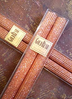 Gold Rush 8 Inch Natural Beeswax Glitter Candles, Copper Color, Boxed Set of 2