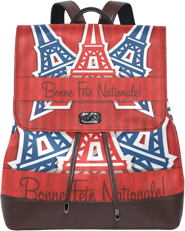 DEZIRO Leather Bonne Fete Nationale School Pack Backpacks Travel Bag