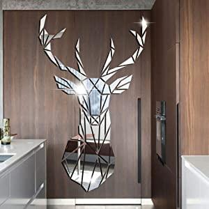 3D Mirror Wall Stickers, Wall Murals for Living Room, DIY Art Decal Mirror Self-Adhesive Wall Decoration, Removable Reflectable Wallpaper Home Bedroom Bathroom Decor (Deer)