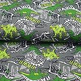 Jersey Stoff mit grünen Dinos auf Grau als Meterware zum